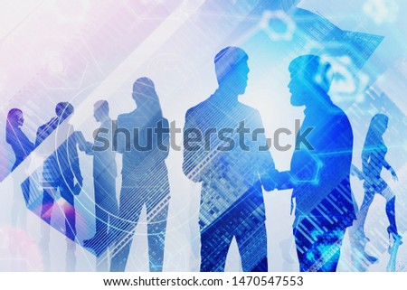 Silhouettes of business people discussing work in modern city with double exposure of internet icons. Concept of smart city and hi tech start up. Toned image #1470547553