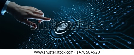Fingerprint scan provides security access with biometrics identification. Business Technology Safety Internet Concept #1470604520