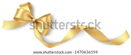 Decorative golden bow with long yellow ribbon isolated on white background. Christmas and New Year holiday decoration. Vector illustration