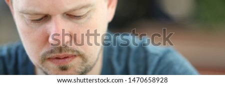 Sad and Overwhelmed Bearded Man Close-up Portrait. Depressed Adult Person with Closed Eyes. Upset and Sorrow Unshaven Male Face Headshot. Thoughtful and Serious Guy Partial View Photography #1470658928