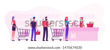 Customers Stand in Line at Grocery or Supermarket Turn with Goods in Shopping Trolley Put Buys on Cashier Desk for Paying. Purchases, Sale Consumerism, Queue in Store Cartoon Flat Vector Illustration #1470674030