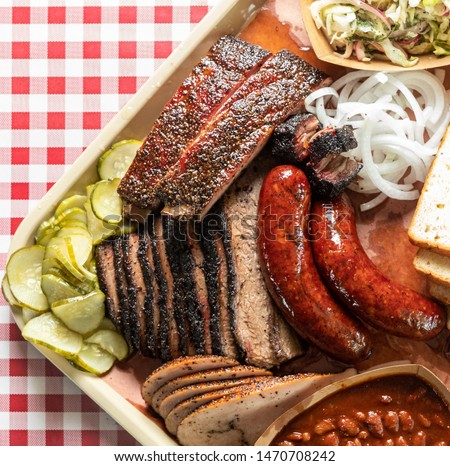 Texas style barbecue on a tray.  #1470708242