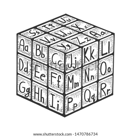 Cube with alphabet for learning letters sketch engraving raster illustration. Scratch board style imitation. Black and white hand drawn image.