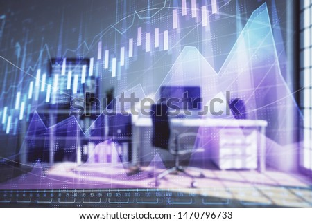 Forex chart hologram with minimalistic cabinet interior background. Double exposure. Stock market concept. #1470796733