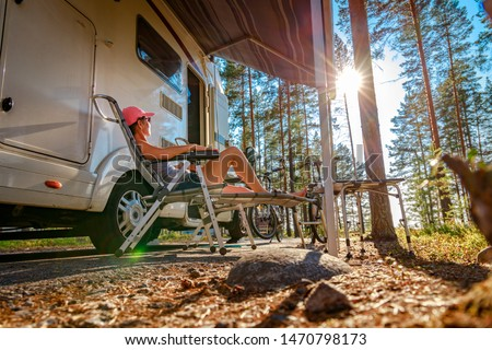 Family vacation travel RV, holiday trip in motorhome, Caravan car Vacation. #1470798173