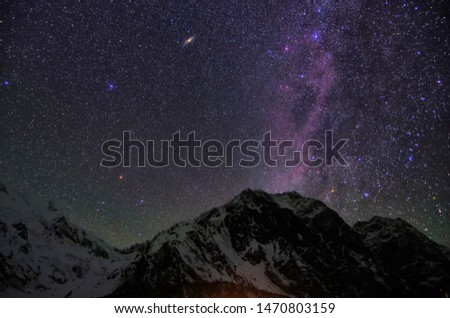The Gorgeous Milky Way on the Snowy Mountains of Tibet, China  #1470803159