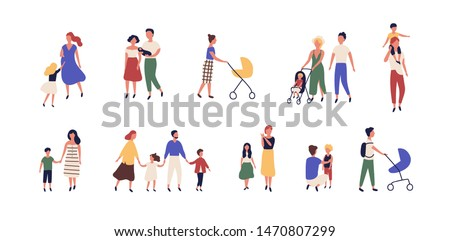 Bundle of walking families. Collection of mothers, fathers and children spending time together. Set of strolling parents and kids isolated on white background. Flat cartoon vector illustration. #1470807299