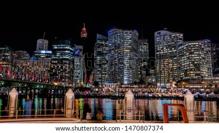 A night at the Darling Harbour in Sydney Royalty-Free Stock Photo #1470807374