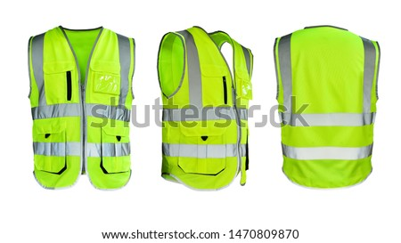 Safety Vest Reflective shirt beware, guard, mind, traffic shirt, safety shirt, rescue, police, security shirt protective jacket isolated on white background. This has clipping path. #1470809870