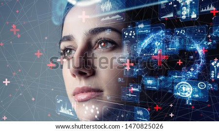 Authentication by facial recognition concept. Biometric. Security system. #1470825026