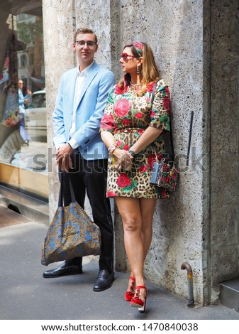 MILANO, Italy: 15 June 2019: Fashion bloggers street style outfits before Dolce & Gabbana fashion show during Milano Fashion Week man 2019/2020 #1470840038