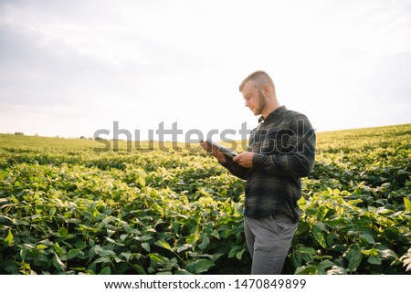 Agronomist inspecting soya bean crops growing in the farm field. Agriculture production concept. young agronomist examines soybean crop on field in summer. Farmer on soybean field #1470849899