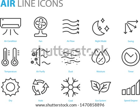 set of air icons, air condition, heater, dust, temperature, purify Royalty-Free Stock Photo #1470858896