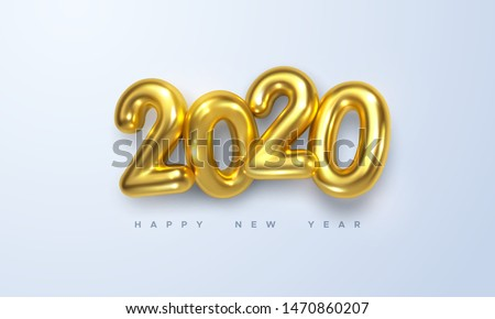 Happy New 2020 Year. Holiday vector illustration of golden metallic numbers 2020. Realistic 3d sign. Festive poster or banner design #1470860207