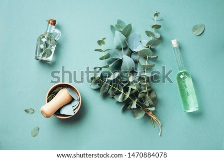 Bowl, bottles of eucalyptus essential oil, mortar, bunch of fresh eucalyptus branches on green background. Natual organic ingredients for cosmetics, skin care, body treatment. #1470884078