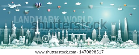 Travel landmarks world with modern and ancient architecture background, Tourism with panorama to america, europe, asia, australia, italy, spain, malaysia, indonesia, turkey, china, japan, cambodia. #1470898517