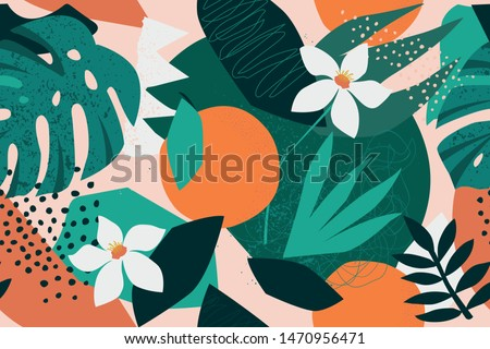 Collage contemporary floral seamless pattern. Modern exotic jungle fruits and plants illustration in vector. #1470956471