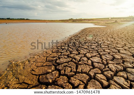 Dried lake and river on summer, Water crisis at thailand and Climate change or drought concept. #1470961478