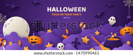 Happy Halloween banner or party invitation background with night clouds and pumpkins in paper cut style. Vector illustration. Full moon in the sky, spiders web and flying bats. Place for text #1470990461