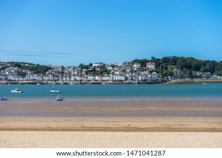 Torridge estuary at Instow looking across to the Historic port of Appledore in North Devon , England Royalty-Free Stock Photo #1471041287