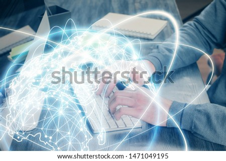 Double exposure of businessman working on laptop on background. International business hologram in front. Concept of success. #1471049195