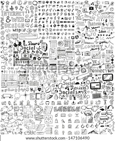Huge set of business, social, technology hand drawn elements / doodles Royalty-Free Stock Photo #147106490