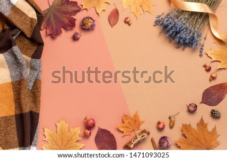 Autumn Flat lay composition. Autumn dry leaves, roses flowers, lavender, orange circle cones decorative pomegranate cinnamon sticks on brown pink background top view. Autumn, fall concept.