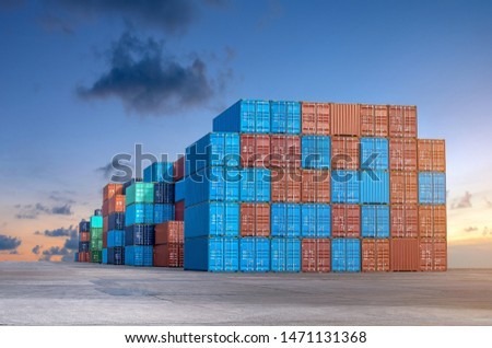Stack of containers box from Cargo freight ship for import-export at harbor and transportation industrial concept. #1471131368