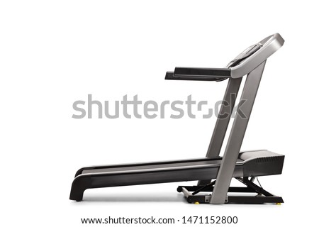 Studio shot of a professional treadmill with incline isolated on white background #1471152800