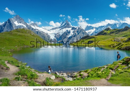 Sunset  view on Bernese range above Bachalpsee lake. Popular tourist attraction. Location place Switzerland alps, Grindelwald valley, Europe.  #1471180937