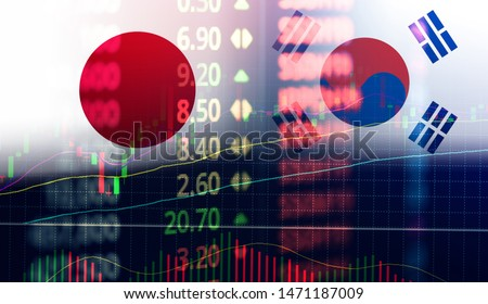 Japan and South Korea trade war white list economy conflict tax / Japan rally to declare a boycott South Korea goods export Controls technology business stock market graph chart  #1471187009