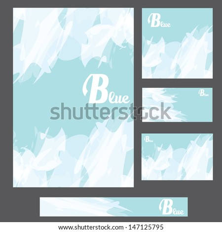 abstract modern blue background . blue business cover template collection. vector brochure design #147125795