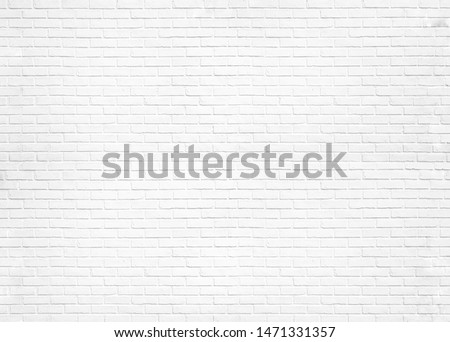 Abstract white brick wall texture for pattern background. wide panorama picture. #1471331357