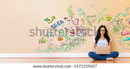 Many thoughts with young woman using a laptop computer