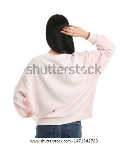 Young woman in sweater isolated on white. Mock up for design #1471342763