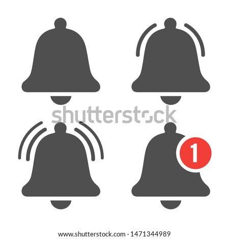 Message bell icon. Doorbell icons for apps like youtube, alert ringing or subscriber alarm symbol, channel messaging reminders bells #1471344989