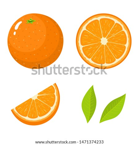 Set of fresh whole, half, cut slice and leaves orange fruit isolated on white background. Tangerine. Organic fruit. Cartoon style. Illustration for any design. #1471374233