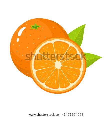 Set of fresh whole and half orange fruit with leaves isolated on white background. Tangerine. Organic fruit. Cartoon style. Illustration for any design. #1471374275