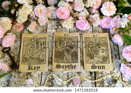 Still life with tarot cards, Lenormand oracle ritual. Esoteric, wicca and occult background, fortune telling and divination ritual with tarot cards.  #1471382018