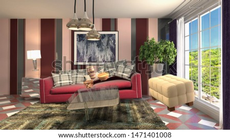 Zero Gravity Sofa hovering in living room. 3D Illustration #1471401008