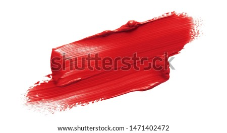 Lipstick smear smudge swatch isolated on white background. Cream makeup texture. Bright red color cosmetic product brush stroke swipe sample #1471402472