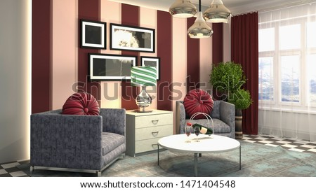 interior with chair. 3d illustration. #1471404548