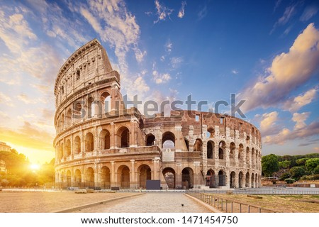 Coliseum or Flavian Amphitheatre (Amphitheatrum Flavium or Colosseo), Rome, Italy.   Royalty-Free Stock Photo #1471454750