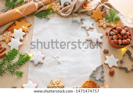 Composition with tasty Christmas cookies on table #1471474757