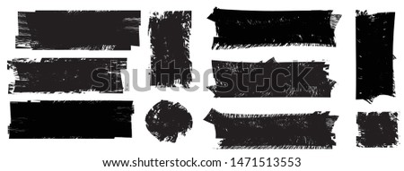 Grunge Paint Roller . Vector brush Stroke . Distressed banner . Black stripes isolated. paintbrush collection . Modern Textured shape . Dry border in Black . Bulge lines #1471513553