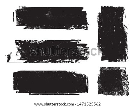 Grunge Paint Roller . Vector brush Stroke . Distressed banner . Black stripes isolated. paintbrush collection . Modern Textured shape . Dry border in Black . Bulge lines #1471525562