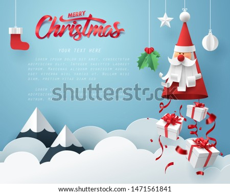 Paper art of Gift boxes dropping from Santa Claus, merry Christmas and happy new year celebration concept, vector art and illustration. #1471561841