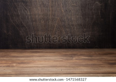 empty wooden table in front, plank board background texture surface #1471568327