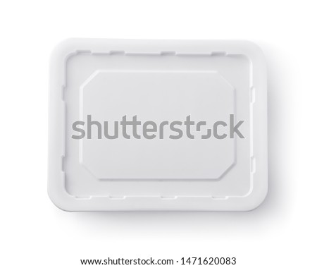 Top view of blank instant noodles box lid isolated on white #1471620083