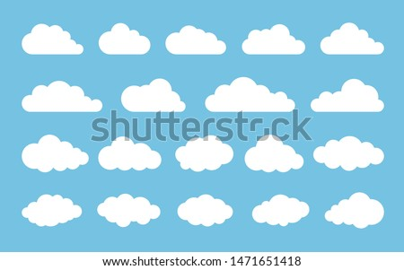 Cloud. Abstract white cloudy set isolated on blue background. Vector illustration. Royalty-Free Stock Photo #1471651418